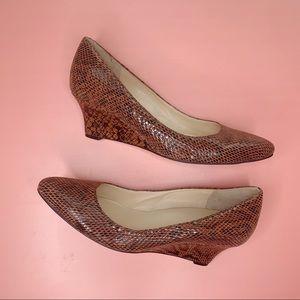 Cole Haan chocolate brown snake skin wedge pumps